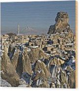 Cappadocia In Winter Wood Print
