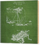 Capps Machine Gun Patent Drawing From 1899 - Green Wood Print