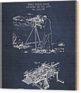 Capps Machine Gun Patent Drawing From 1899 - Navy Blue Wood Print
