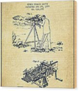 Capps Machine Gun Patent Drawing From 1899 - Vintage Wood Print