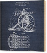 Capps Machine Gun Patent Drawing From 1902 - Navy Blue Wood Print