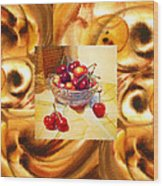 Cappuccino Abstract Collage Cherries Wood Print