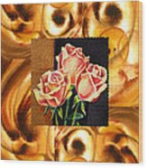 Cappuccino Abstract Collage French Roses Wood Print