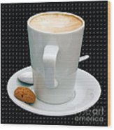 Cappuccino With An Amaretti Biscuit Wood Print by Terri Waters