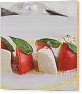 Caprese Mozzarella And Tomatoes Wood Print