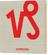 Capricorn Zodiac Sign Red Wood Print