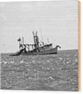 Capt. Jamie - Shrimp Boat - Bw 01 Wood Print
