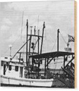 Capt. Jamie - Shrimp Boat - Bw 02 Wood Print