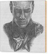 Captain America Wood Print by Christine Jepsen