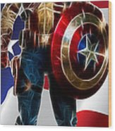 Captain America In Front Of Old Glory Wood Print
