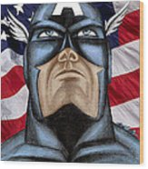 Captain America Wood Print by Michael Mestas