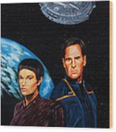 Captain Archer And T Pol Wood Print