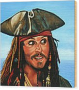 Captain Jack Sparrow Painting Wood Print