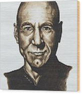 captain Jean Luc Picard Star Trek TNG Wood Print by Giulia Riva