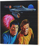 Captain Kirk And Mr. Spock Wood Print by Robert Steen
