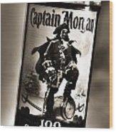 Captain Morgan Black And White Wood Print