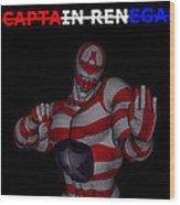 Captain Renegade Super Hero Combating Crime Wood Print