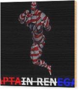 Captain Renegade Super Hero Jumping Karate Kick Wood Print