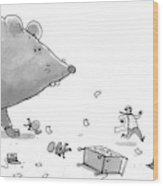 Captionless. Cctk. A Giant Rat Chases Scientists Wood Print