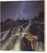 Capturing A Starry Night Waterfall In Wood Print