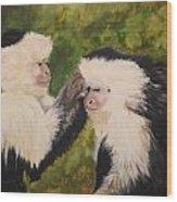 Capuchin Monkeys Charlotte And Samantha Half Proceeds Go To Jungle Friends Primate Sanctuary Wood Print