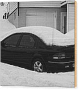 Car Buried In Snow Outside House In Honningsvag Norway Europe Wood Print by Joe Fox