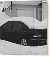 Car Buried In Snow Outside House In Honningsvag Norway Europe Wood Print