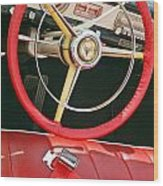 Car Interior Red Seats And Steering Wheel Wood Print