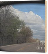 Car Mirror Landscape With Road And Sky. Wood Print
