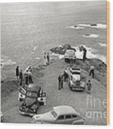Car Over Edge On Highway One  Big Sur  California    March 27 1947 Wood Print
