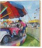 Car Ride At The Fair Wood Print