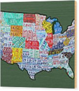 Car Tag Number Plate Art Usa On Green Wood Print