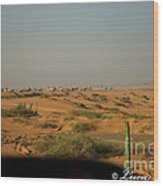 Caravan Of Camel In The Desert. Wood Print