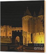 Carcassonne At Night Wood Print by France  Art
