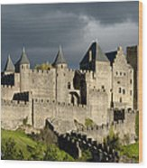 Carcassonne Stormy Skies Wood Print by Robert Lacy