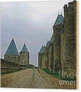Carcassonne Walls Wood Print by France  Art