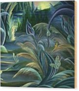 Card Design For Insects Of Enchanted Stream Wood Print