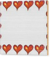 Card Frame Made Of Watercolor Hearts Wood Print