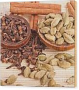 Cardamom Pods And Cloves Wood Print