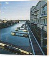 Cardiff Bay Pontoons Wood Print