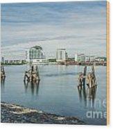 Cardiff Bay Towards St Davids Hotel Long Exposure Wood Print