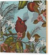 Cardinal And Apples Wood Print