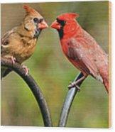 Cardinal Love Wood Print