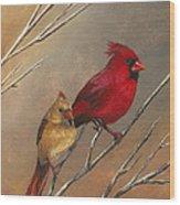 Cardinal Mates Wood Print