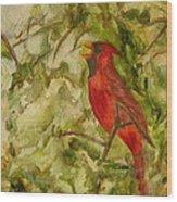 Cardinal Singing Wood Print