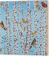 Cardinals Among The Birch-jp2061 Wood Print