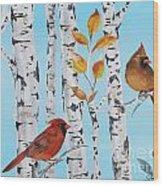 Cardinals Among The Birch-d Wood Print