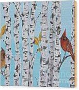 Cardinals Among The Birch-e Wood Print