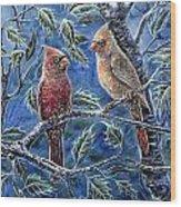 Cardinals And Holly Wood Print
