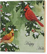 Cardinals Holiday Card - Version With Snow Wood Print